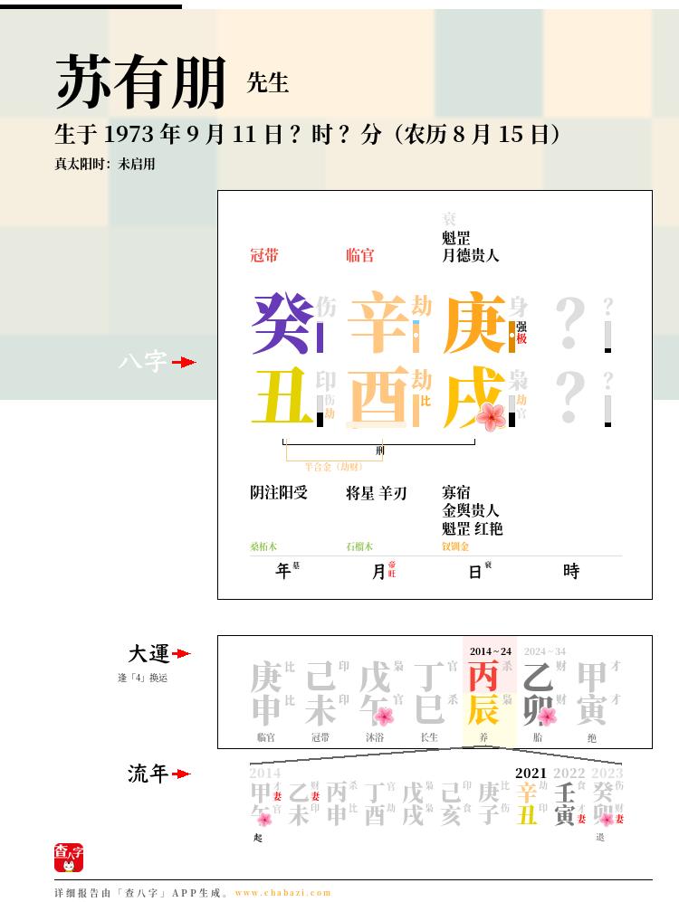 苏有朋的出生日期生辰八字分析