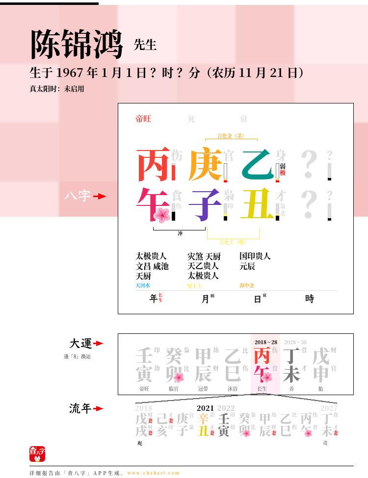陈锦鸿的出生日期生辰八字分析