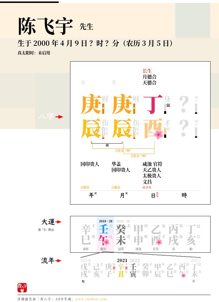 陈飞宇的出生日期生辰八字分析